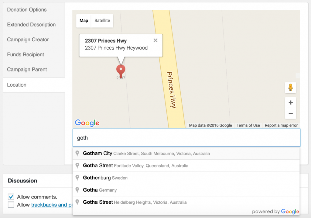 Screenshot of Geolocation Admin Location Field
