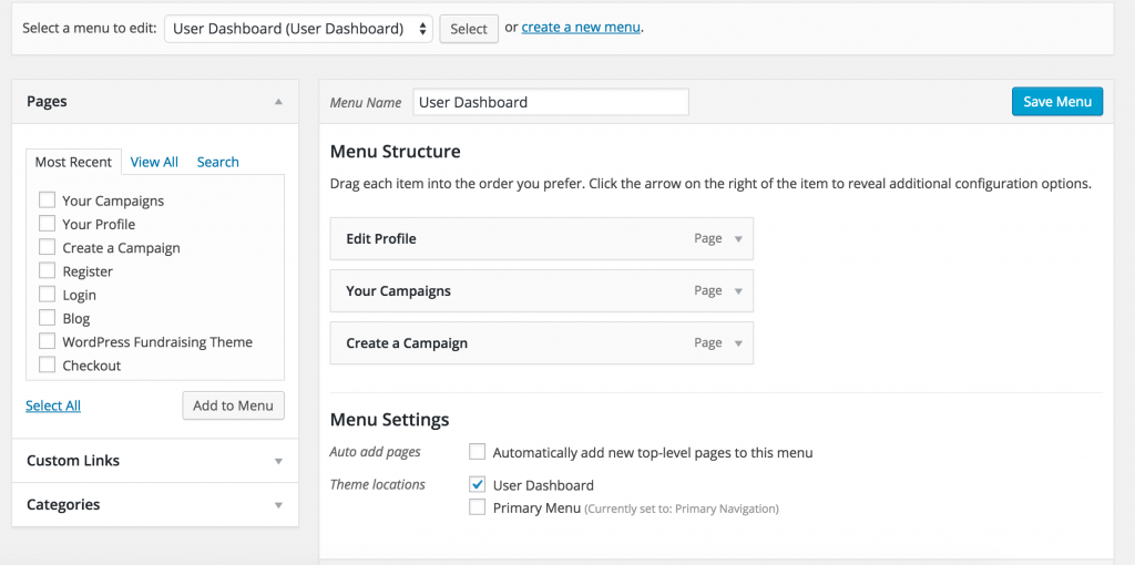 User Dashboard Menu