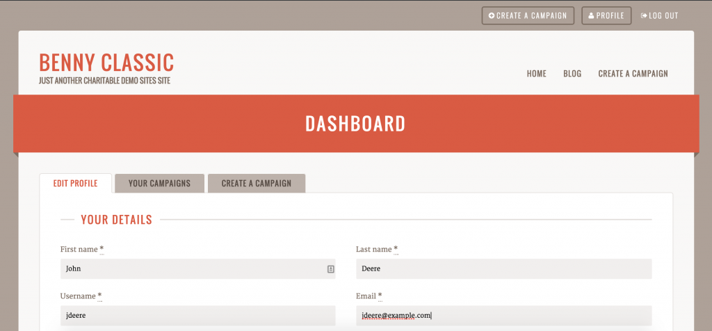 Benny's User Dashboard