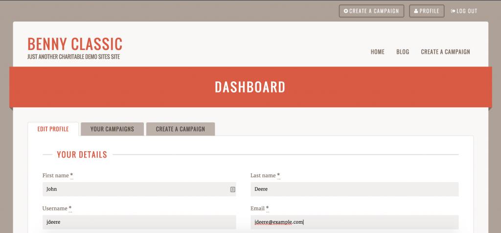 Benny's User Dashboard