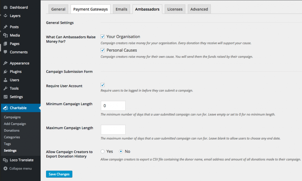 Charitable Ambassadors settings page