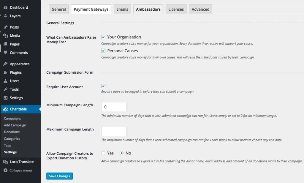 Charitable Ambassadors settings page