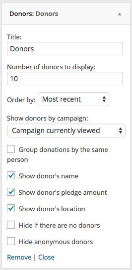The Donors widget with Charitable Anonymous Donations enabled