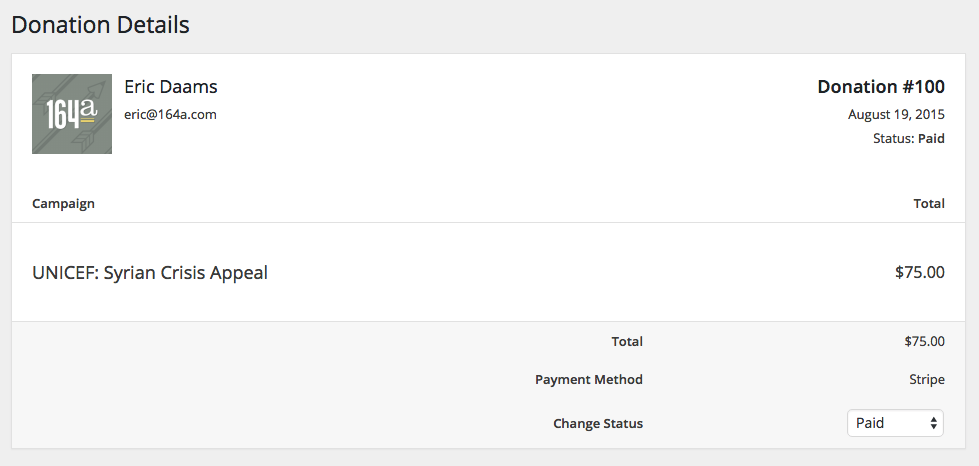 Single donation page in the dashboard