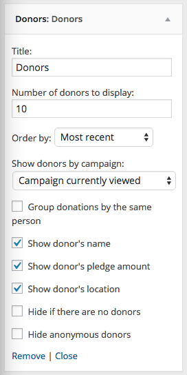 The Donors widget