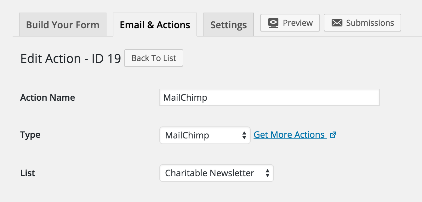 mailchimp action