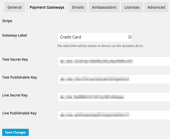 The Stripe gateway settings page in Charitable.