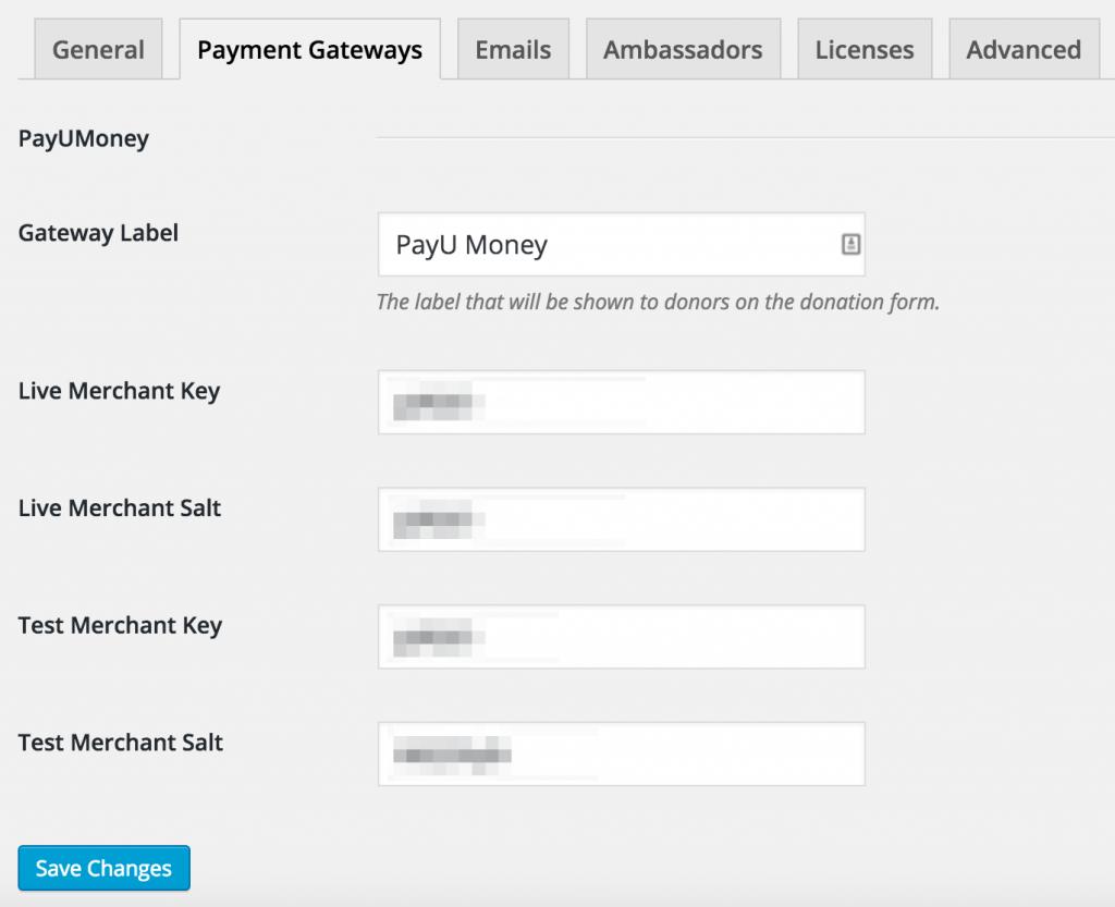 PayUMoney gateway settings in Charitable