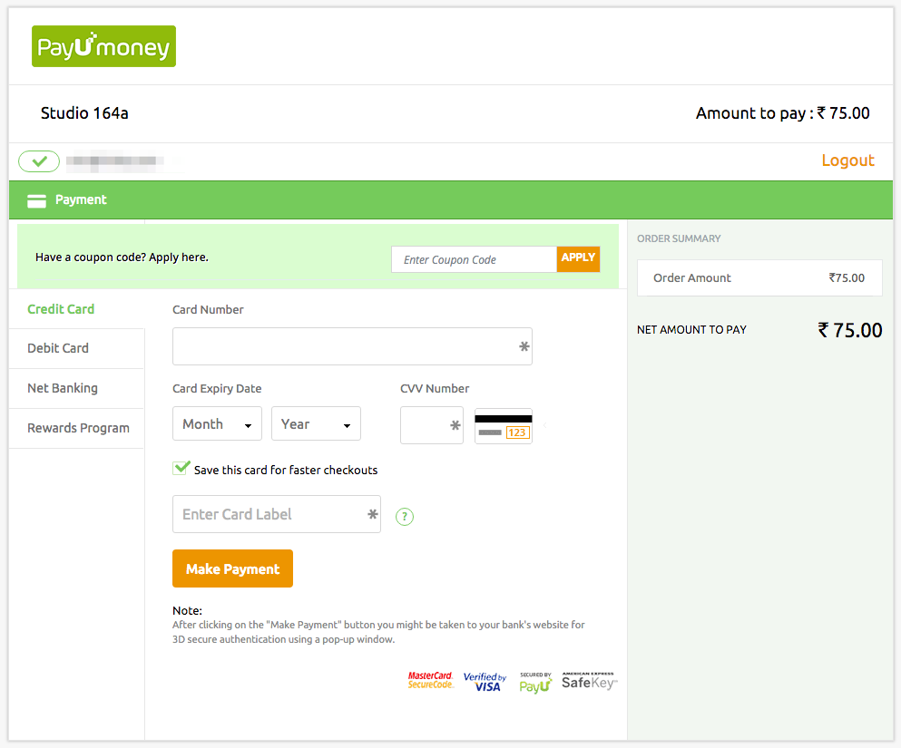 PayUMoney Payment Page