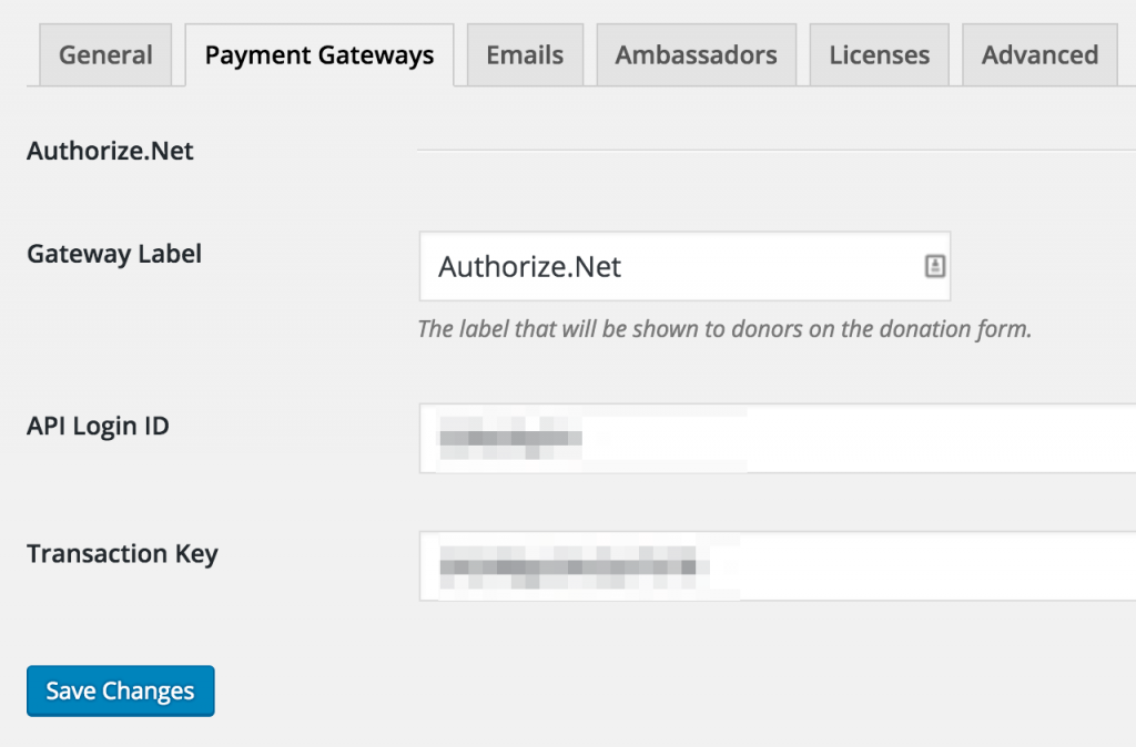Authorize.Net gateway settings