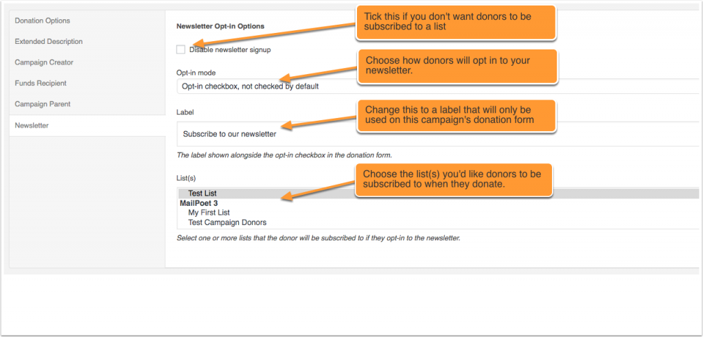 Screenshot showing campaign newsletter settings for MailChimp, Campaign Monitor and MailPoet in WordPress.