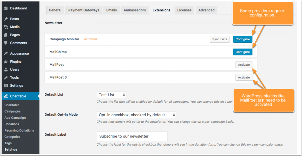 Screenshot showing how providers are activated & configured.