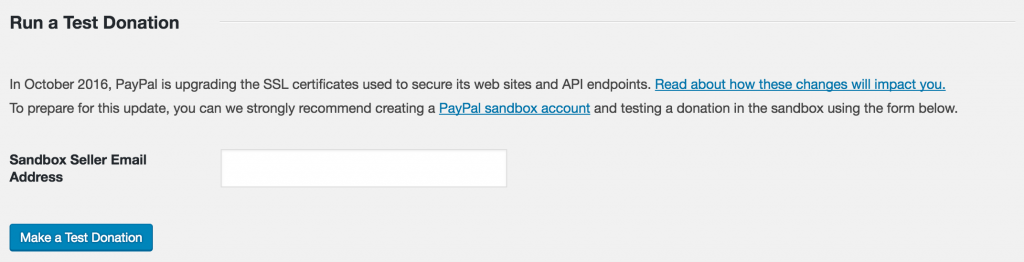 Screenshot showing the test donation tool in Charitable's PayPal settings
