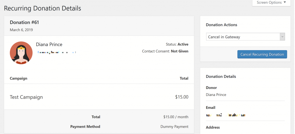 Screenshot of Recurring Donation page highlighting how to cancel a subscription.