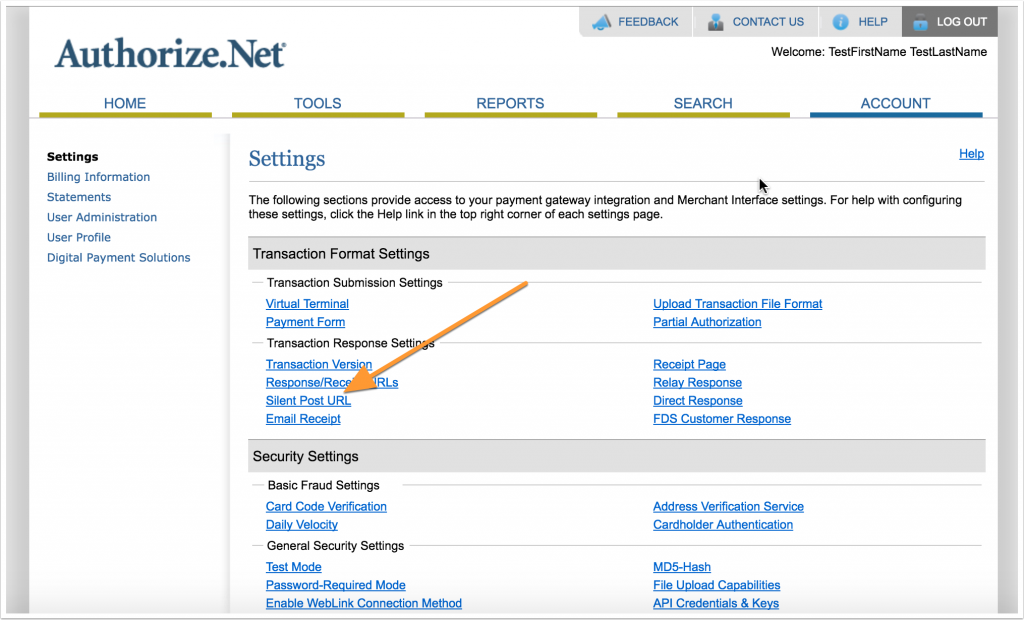 Screenshot of Authorize.Net settings page with arrow to Silent Post link