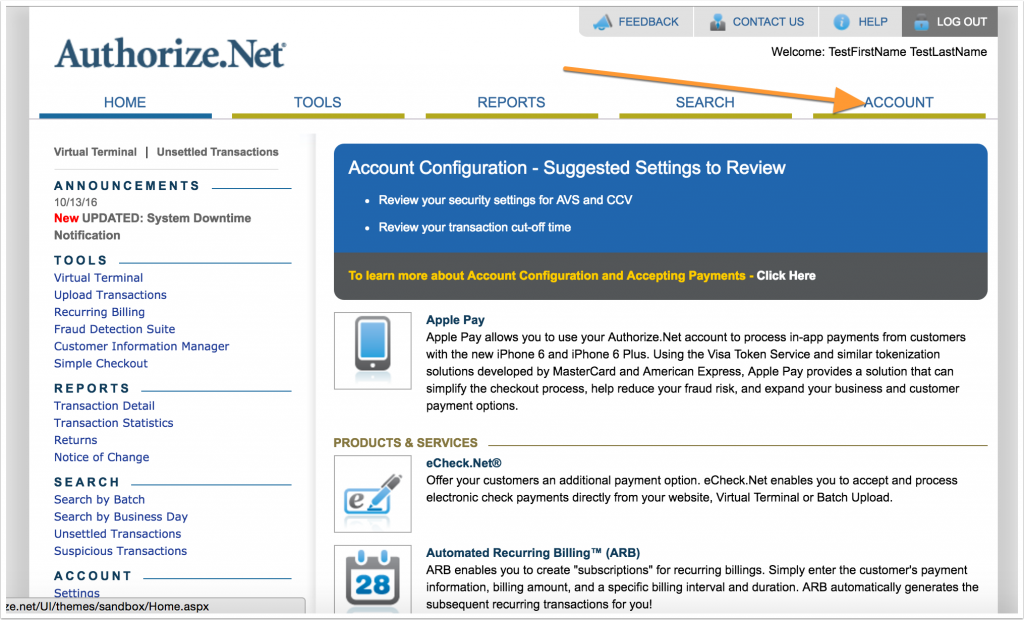 Screenshot of Authorize.Net account area