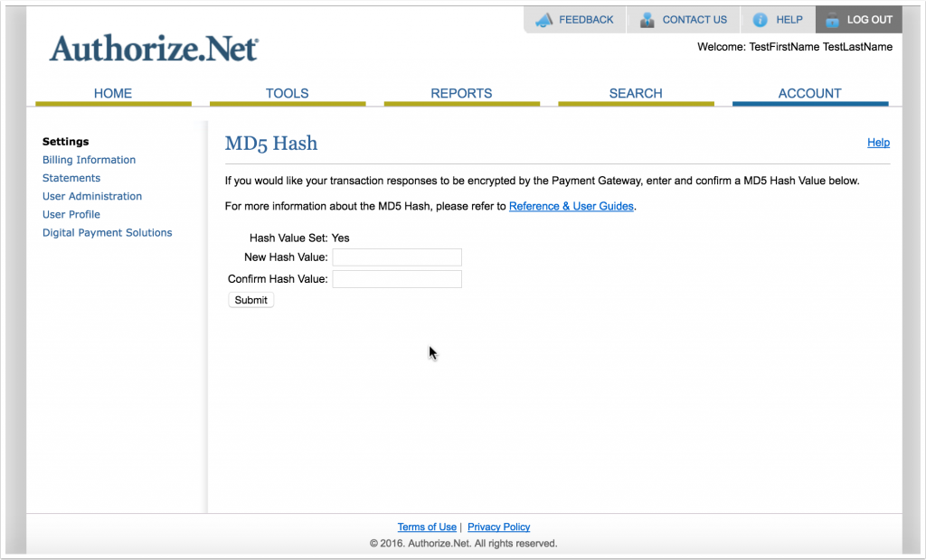 Screenshot of MD5 Hash page in Authorize.Net account area