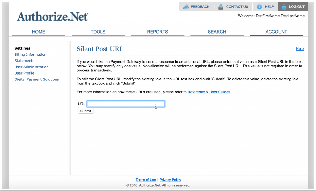 Screenshot of Silent Post URL page in Authorize.Net account area