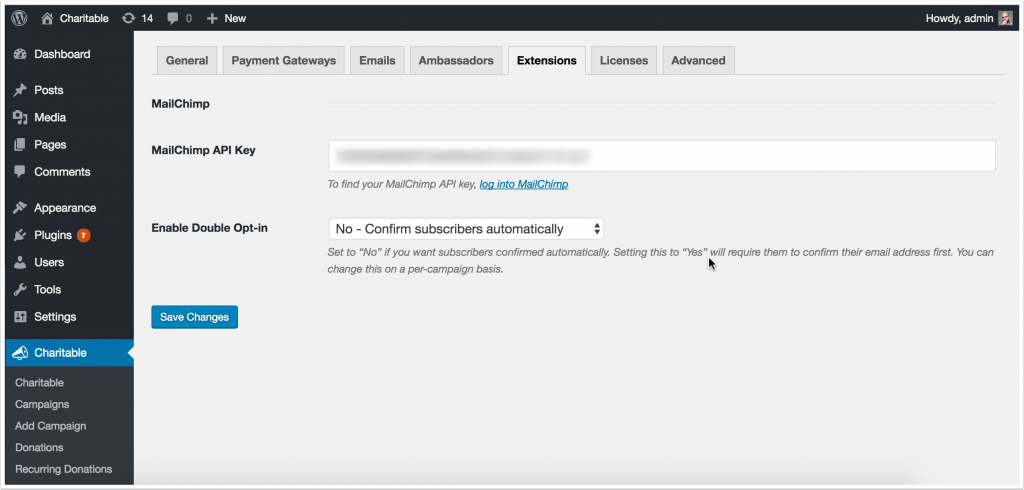 Screenshot of MailChimp configuration