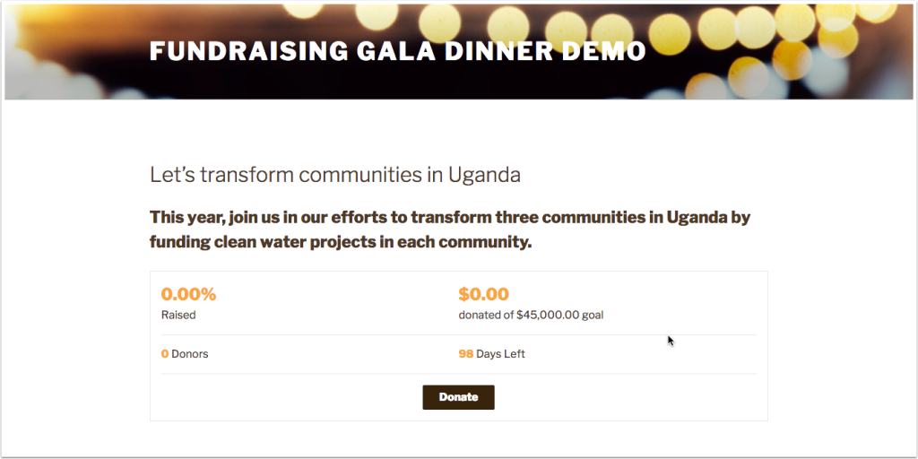 Screenshot of fundraising campaign