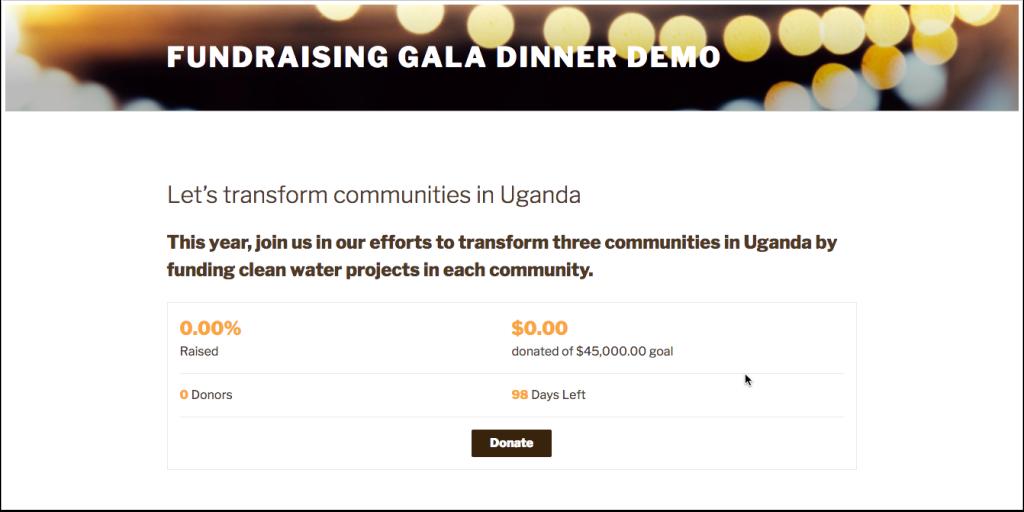 Screenshot of fundraising campaign
