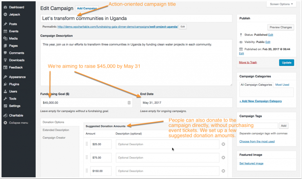 Screenshot showing how to create your fundraising campaign