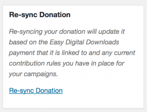 The resync tool in Charitable Easy Digital Downloads Connect