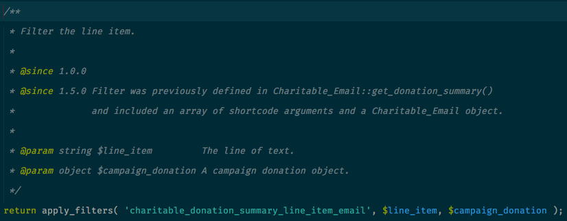 Charitable filter doc comments