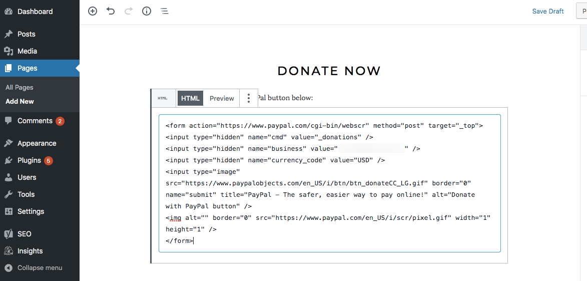 PayPal for nonprofits paste donation button HTML in WordPress