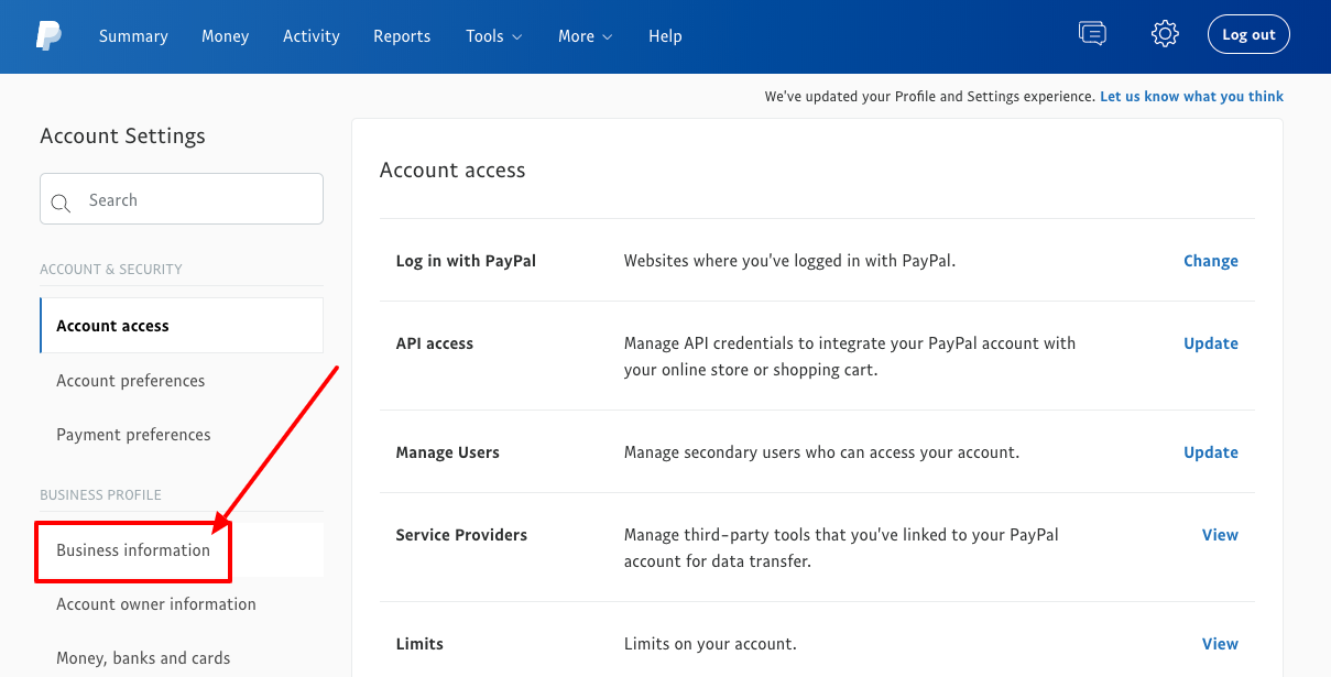 PayPal for nonprofits dashboard account settings page