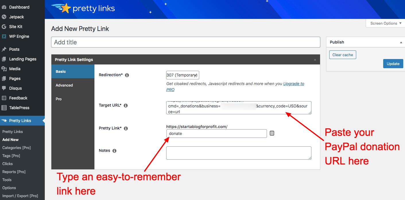 Add New Pretty Link to WordPress