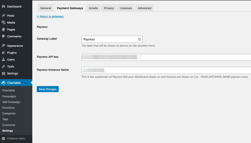 Screenshot showing the Payrexx settings page for Charitable in the WordPress dashboard.