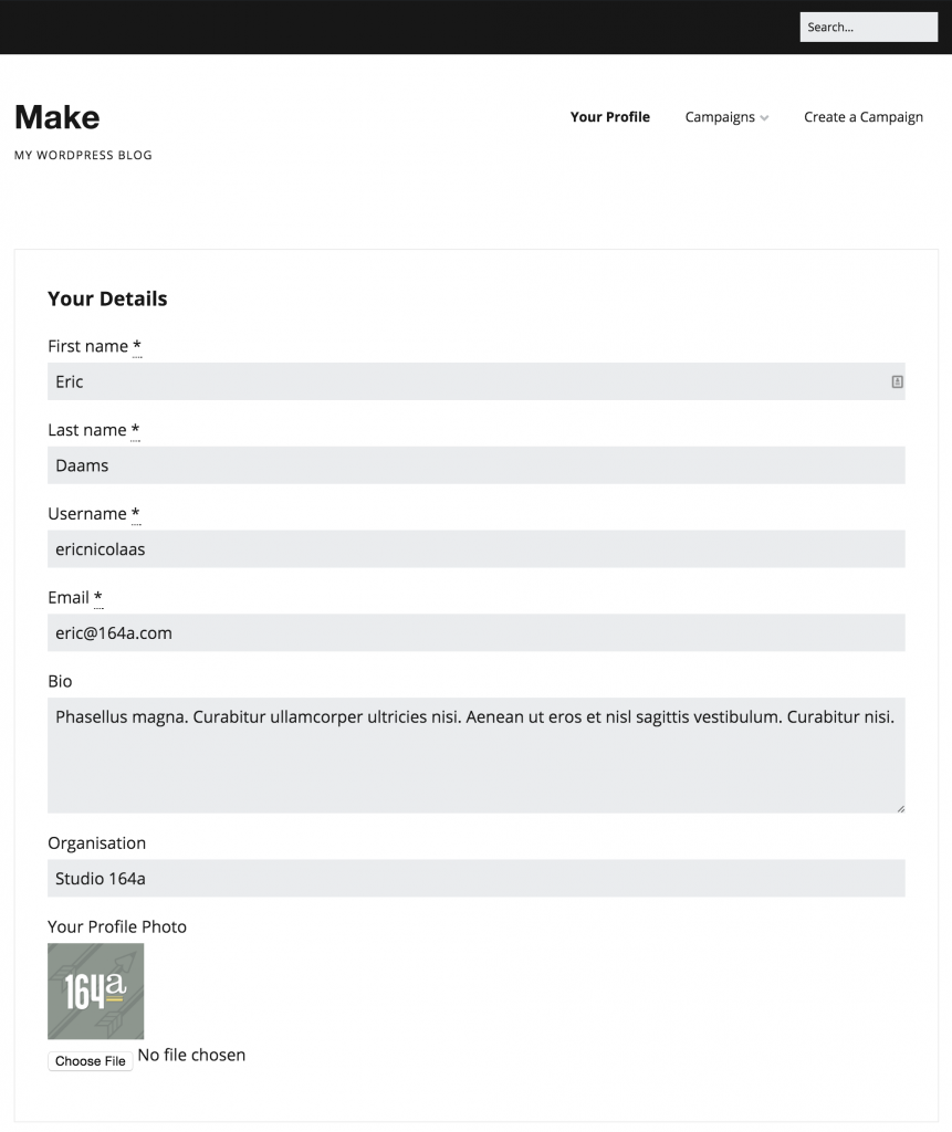 Profile form with photo in Make