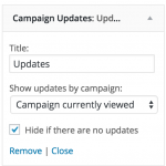 The Updates widget can be added via the WordPress Customizer
