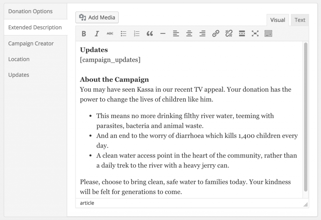 Adding the [campaign_updates] shortcode to the campaign description.