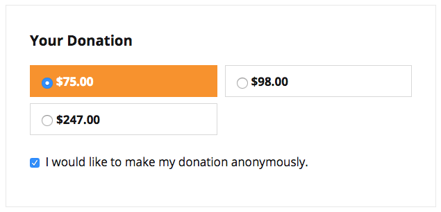 Screenshot showing anonymous donations checkbox in donation form
