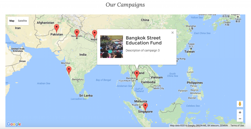 Fundraising Campaigns Map