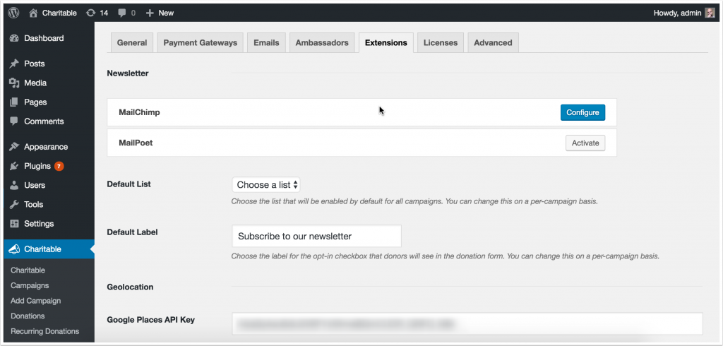 Screenshot of Newsletter Connect settings in WordPress dashboard