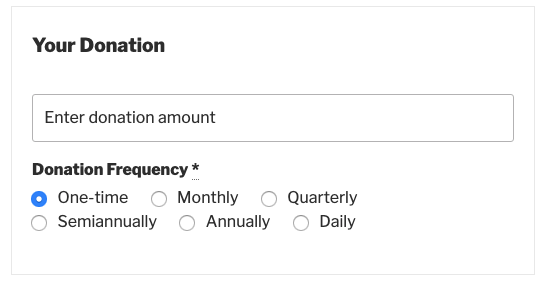 Screenshot showing interface of Variable mode in Recurring Donations
